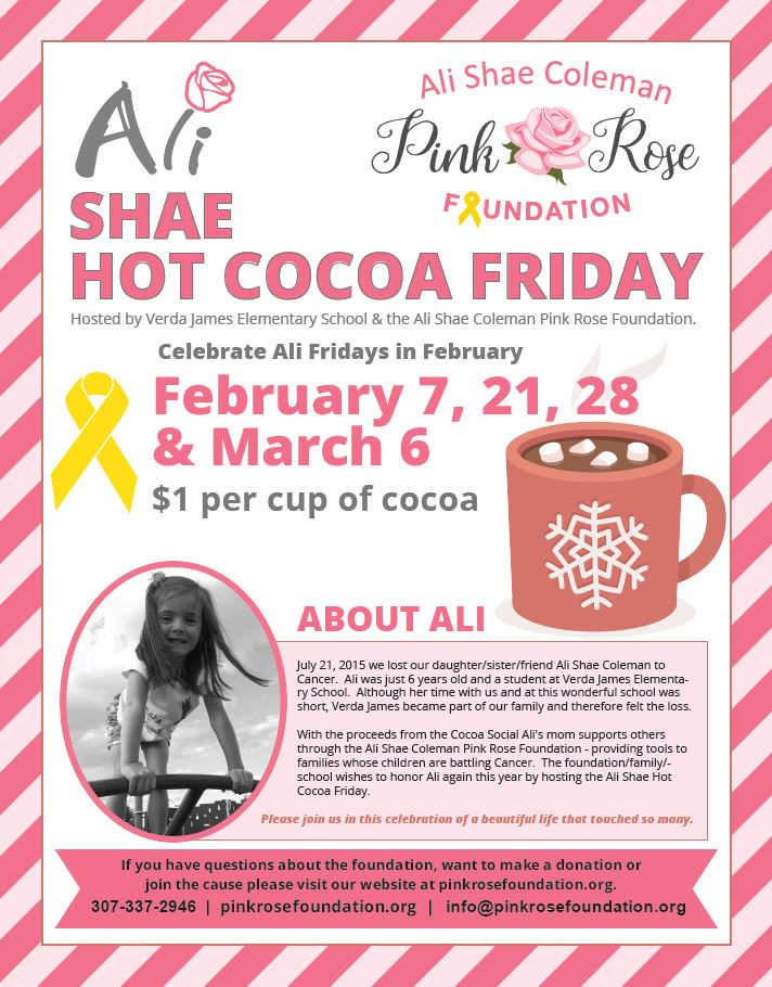 hot cocoa social ali shae pink rose foundation fundraiser
